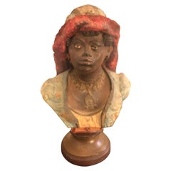 Terracotta Italian Bust of a Young Woman, circa 1900