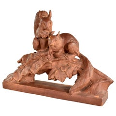 Terracotta Life-Size Squirrel Sculpture by Leo Amaury & Stamped R D'Arly France