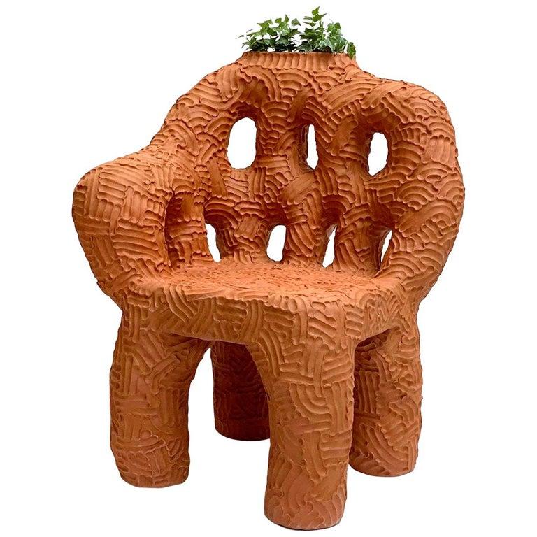 "Chris Wolston Terracotta Plant Chair ""Tatacoa""  For Sale"