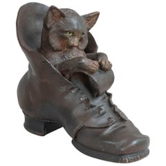 Terracotta Playful Cat in a Shoe, Austrian, circa 1890