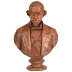 Terracotta Portrait Bust of Benjamin Disraeli Dated 1880