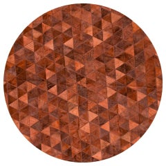 Terracotta Round Small Trilogia Customizable Cowhide Rug Large