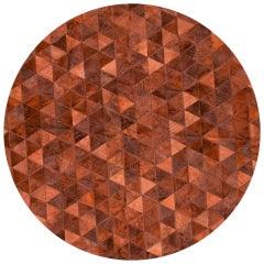 Terracotta Round Trilogia Customizable Cowhide Rug Medium
