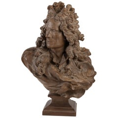 Terracotta Sculpture by Voltaire, Signed Caffieri
