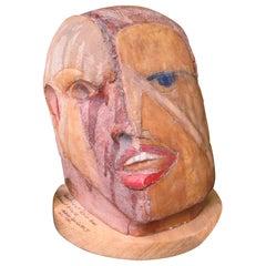 "Terracotta Sculpture ""Man Helmet"" by Osvaldo Rodriguez 'Born in 1946'"