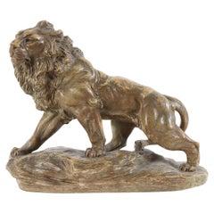 Terracotta Sculpture of a Lion, Signed Armand Fagotto, ca. 1900