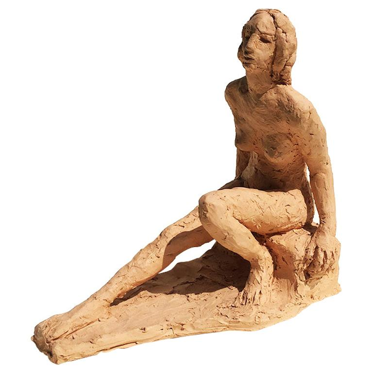 Terracotta Sculpture of a Nude Woman Reclining 20th Century Signed