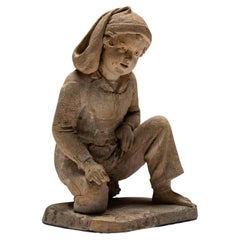 Terracotta Sculpture of a Young Fisherman, France 1858
