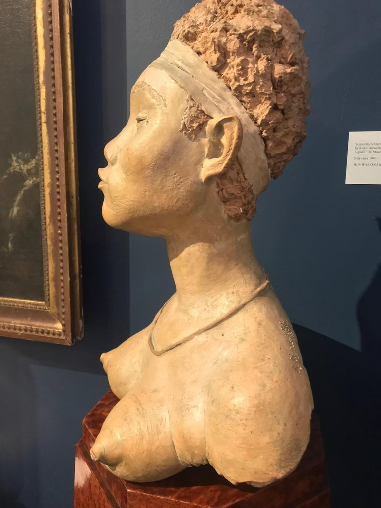Italian Terracotta Sculpture of an African Woman by Renzo Moscatelli For Sale