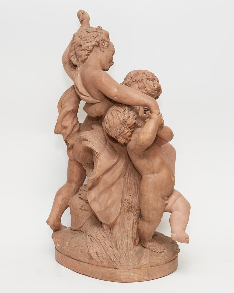 Cast Terracotta Sculpture of Cherubs Signed Barbedienne For Sale