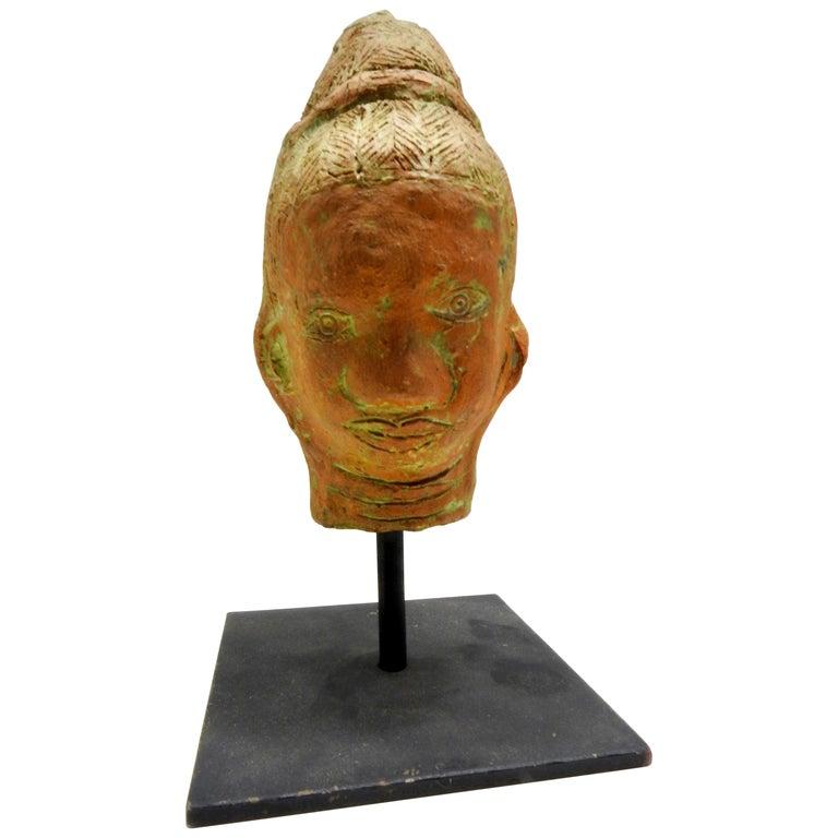 Terracotta Sculpture of Head Thailand For Sale