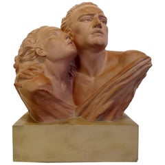 "Terracotta Sculpture of Jean Marais Signed ""Brochard"""