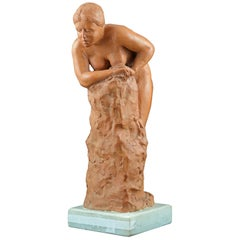 Terracotta Sculpture Signed Francisco Luque, Spain, 20th Century