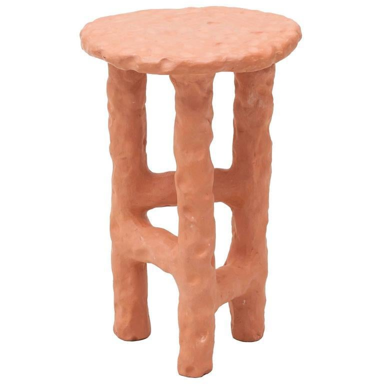 Fired Terracotta Side Table by Chris Wolston For Sale