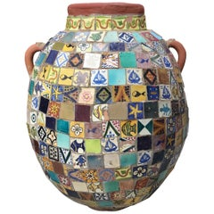 Terracotta Single Garden Vase Urn with Ceramic Tile Mosaic