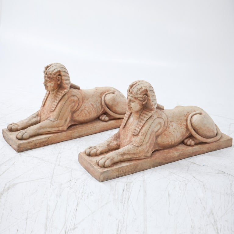 Egyptian Revival Terracotta Sphinxes, Second Half of the 20th Century For Sale