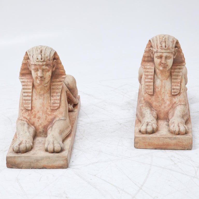 Terracotta Sphinxes, Second Half of the 20th Century In Good Condition For Sale In Greding, DE