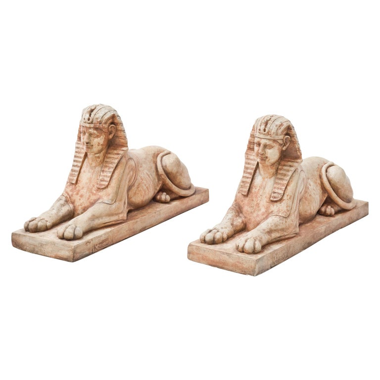 Terracotta Sphinxes, Second Half of the 20th Century For Sale