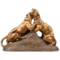 Terracotta Statue of Two Fighting Tigers by H. Fagotto, Early 20th Century