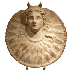 Terracotta Tondo Head of Medusa, Greek, Sicily, Centuripe, 3rd Century BC