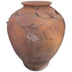Terracotta Urn / Vase with Grape Leaf Detail, circa 1900