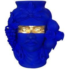 Terracotta Vase Yves Klein Blue / Gold Designed by Stefania Boemi, Made in Italy