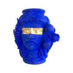 Blue & Gold Vase, by Stefania Boemi, Made in Italy, In stock in Los Angeles