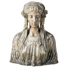 Terracotta Woman Bust Signed Goldscheider, Austria, circa 1900