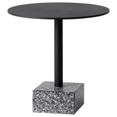 Terrazo and Aluminum Side Table, 'Ding,' Black, from Terrazo Collection by Bentu