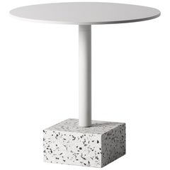 Terrazo and ALuminum Side Table, 'Ding,' White, from Terrazo Collection by Bentu