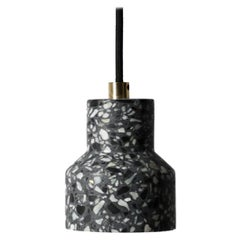 Terrazo and Copper Pendant Light, 'Tu,' Black, from Terrazo Collection by Bentu