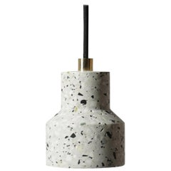 Terrazo and Copper Pendant Light, 'Tu,' White, from Terrazo Collection by Bentu