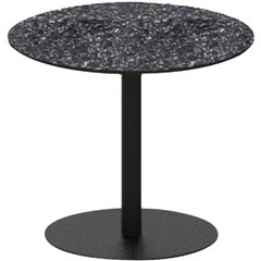 Terrazo and Powder Coated Steel Round Table, 'I,' Black, from Terrazo