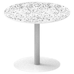 Terrazo and Powder Coated Steel Round Table, 'I,' White, from Terrazo