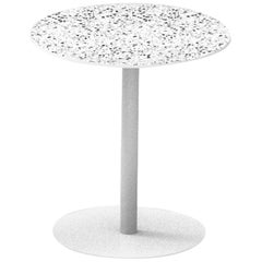 Terrazo and Powder-Coated Steel Round Table, 'I,' White, H75 cm, from Terrazo