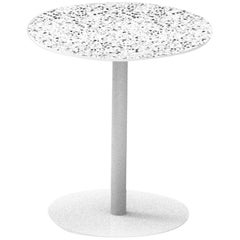 Terrazo and Powder-Coated Steel Round Table, 'I,' White, from Terrazo