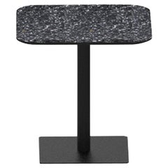 Terrazo and Powder Coated Steel Square Table, 'I,' Black, from Terrazo