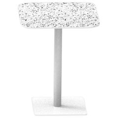 Terrazo and Powder-Coated Steel Square Table, 'i,' White, from Terrazo
