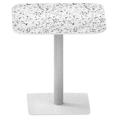Terrazo and Powder Coated Steel Square Table, 'I,' White, H45 cm, from Terrazo