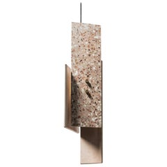 Terrazo Pendant Light, 'Piece,' Pink, from Terrazo Collection by Bentu