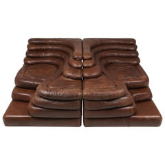 Terrazza Pair of Lounge Chairs in Brown Leather De Sede Ds 1025