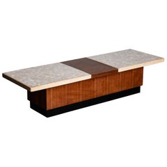 Terrazzo and Walnut Harvey Probber Style Coffee Table or Bench, c. 1960