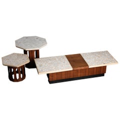 Terrazzo and Walnut Harvey Probber Style Side and Coffee Tables Set, c. 1960