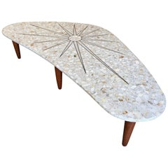 Terrazzo Marble with Brass Sunburst Inlay Coffee Table