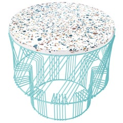 Terrazzo Side Table in Aqua by Bend Goods
