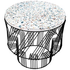 Terrazzo Side Table in Black by Bend Goods