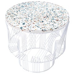 Terrazzo Side Table in White by Bend Goods