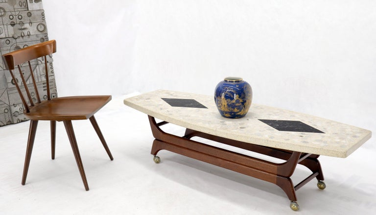 Mid-Century Modern marble terrazzo top boat shape walnut base coffee table. Kagan Pearsall decor match.