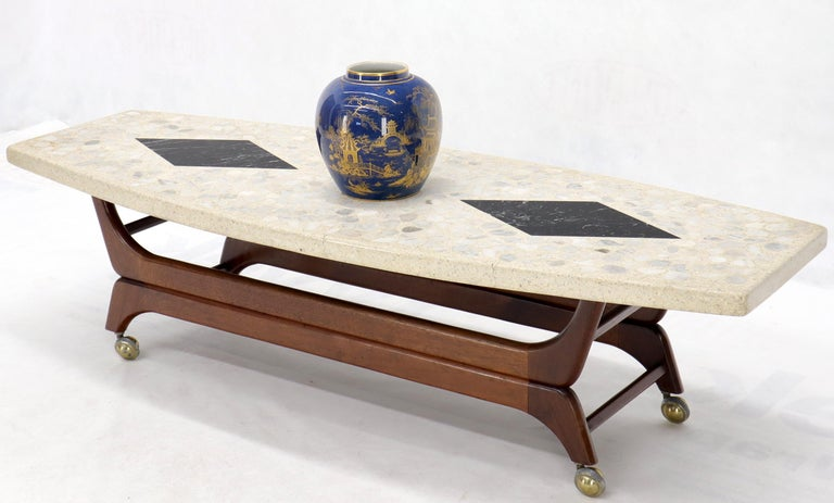 Mid-Century Modern Terrazzo Stone Inlay Boat Shape Oiled Walnut Base Coffee Table For Sale