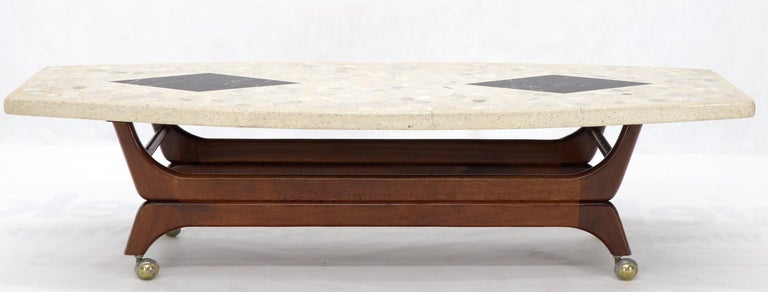 American Terrazzo Stone Inlay Boat Shape Oiled Walnut Base Coffee Table For Sale